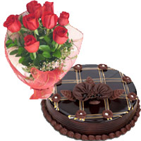Send Rakhi Cake in India. 1 Kg Chocolate Cake 12 Red Roses Bouquet