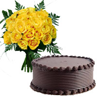 Online 1/2 Kg Chocolate Cake and Rakhi with 18 Yellow Roses Bouquet to India