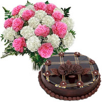 Send 1 Kg Chocolate Cake with Rakhi to India. 12 Pink White Carnation Bouquet in India