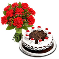 Send 12 Red Carnation with 1/2 Kg Black Forest Cakes. Rakhi Gifts Delivery in India