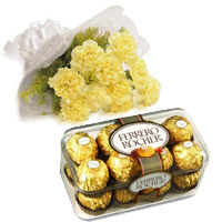 Rakhi Gift Delivery in India. 10 Yellow Carnation with 16 Pcs Ferrero Rocher Chocolate to India on Rakhi