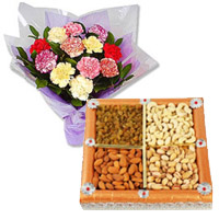 Order for 12 Mixed Carnation With 1/2 Kg Dry Fruits and Rakhi Gifts to India