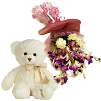 Send Online Rakhi Flower to India comprising of 6 Purple Orchids and 6 Yellow Carnations Bunch with 6 Inch Teddy
