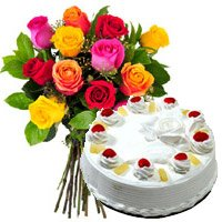 Deliver Mothers Day Gifts in India. 12 Mix Roses 1 Kg Pineapple Cake in India