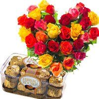 Birthday Gifts to Thanjavur. 30 Mix Roses Heart 16 Pcs Ferrero Rocher Chocolates to Thanjavur