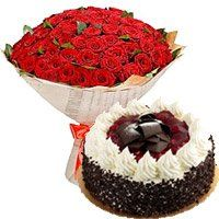 Midnight Cakes Delivery to Shahjahanpur. 100 Red Roses 1 Kg 5 Star Hotel Black Forest Cake to Shahjahanpur