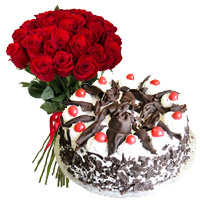 Send Cakes in India including 24 Red Roses, 1 Kg Black Forest Cake 5 Star Bakery on Rakhi