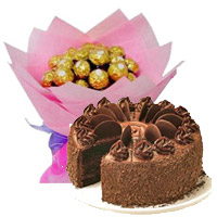 Send Online Rakhi Cakes to India including 16 Pcs Ferrero Rocher Bouquet with 1 Kg Chocolate Cake 5 Star Bakery