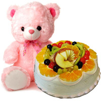 Online Rakhi Gifts to India including 12 Inch Teddy 1 Kg Eggless Fruit Cake 5 Star Bakery on Rakhi