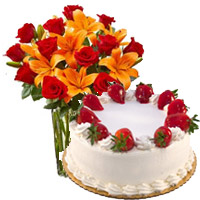 Online Rakhi Cake Delivery to India with 8 Orange Lily 12 Roses Vase 1 Kg Strawberry Cake 5 Star Bakery