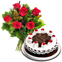 Send 6 Red Roses with 1/2 Kg Black Forest Cakes to India. Rakhi Gifts to India