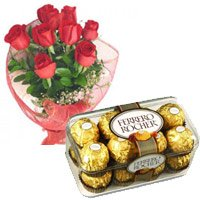 Mothers Day Flowers to India. 12 Red Roses and 16 pieces Ferrero Rocher Chocolates to India