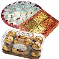 Online Gift of 1 Kg Dry Fruits with 1/2 Kg Kaju Katli and 16 Pcs Ferrero Rocher to India