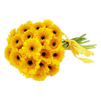 Buy Rakhi Online Yellow Gerbera Bouquet 24 Flowers to India