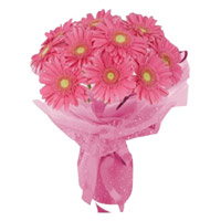 Deliver Rakhi and Flowers to India. Pink Gerbera Bouquet 24 Flowers in India