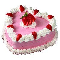 Heart Shape Cakes to Junagadh and 1 Kg Heart Shape Strawberry Cakes in Junagadh