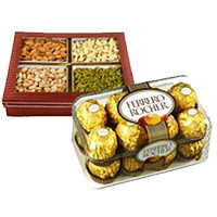 Online Rakhi Gift Delivery in India. 500 gm Mixed Dry Fruits with 16 pcs Ferrero Rocher Chocolates to India