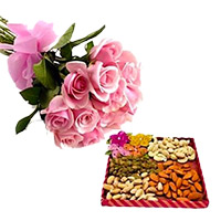 Online Rakhi and Gifts in India. 12 Pink Roses with 500 gm Mixed Dry Fruits