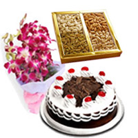 Buy Online Rakhi in India with 5 Purple Orchids Bunch 1/2 Kg Black Forest Cake with 500 gm Mix Dry Fruits