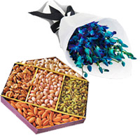 Rakhi Gifts to India includes Blue Orchid Bunch 10 Flowers Stem with 1/2 Kg Mix Dry Fruits