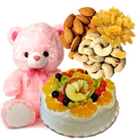 Order for Rakhi Gifts to India. 12 Inch Teddy 1 Kg Eggless Fruit with 500 gm Assorted Dry Fruits