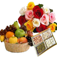 Send Rakhi Gifts to Noida. 12 Mix Roses Bunch with 1 Kg Fresh Fruits Basket and 500 gm Mix Dry Fruits