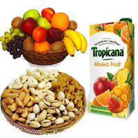 Online Gifts Delivery in India for 1 Kg Fresh Fruits Basket with 500 gm Mix Dry Fruits and 1 ltr Mix Fruit Juice