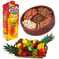 Rakhi Delivery in India with 1 Kg Real Juice with 2 Kg Fresh Fruits Basket and 1 Kg Mix Dry Fruits on Rakhi