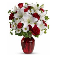 Online Flower Delivery to Varanasi. Send 2 White Lily 6 White Gerbera 6 Red Roses Vase