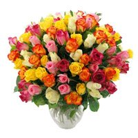 Same Day Mother's Day Flowers Delivery in India. Send Mixed Roses Bouquet 50 Flowers to Lucknow