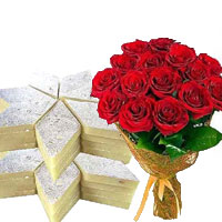 Send Bunch of 12 Red Roses with 0.5 Kg Kaju Barfi and Gifts to India