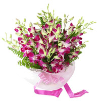 Order Rakhi and Online Purple Orchid Bunch 6 Flowers to India with Rakhi