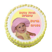 Send Rakhi Cake to India with 1 Kg Pineapple Photo Cake