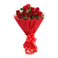 Mother's Day Flowers in India consist of Red Rose Bouquet in Crepe 10 Flowers