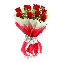 Best Mother's Day Flowers to India. Red Rose Bouquet in Crepe 12 Flowers in India