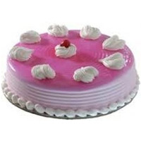 Send Cakes to India with 1 Kg Strawberry Cake and Rakhi