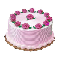 Online 500 gm Strawberry Cake. Rakhi Cakes Delivery to India