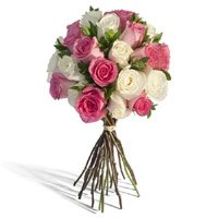 Send Flowers to India on Mother's Day, White Pink Roses Bouquet 24 Flowers in Delhi