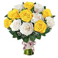 Send Mothers Day Flowers to India. Yellow White Roses Bouquet 12 Flowers to India