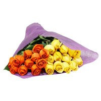 Order Yellow Orange Roses Bouquet 24 Flowers to India